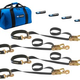 MAC'S CUSTOM STRAPS SUPER PACK TIE DOWN KIT WITH DIRECT HOOK RATCHETS & INTEGRATED AXLE STRAPS